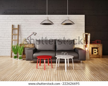 modern interior room with beauty furniture inside - stock photo