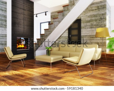 modern interior room with beige furniture and concrete wall - stock photo