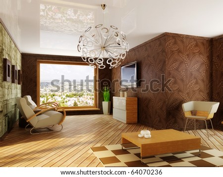 modern interior room with brown walls - stock photo