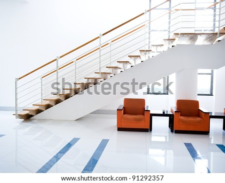 modern interior room with chairs inside. - stock photo
