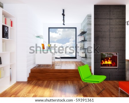 modern interior room with colored furniture and concrete wall