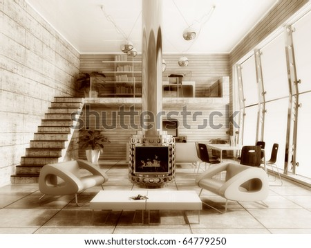 modern interior room with concrete  and wooden walls - stock photo