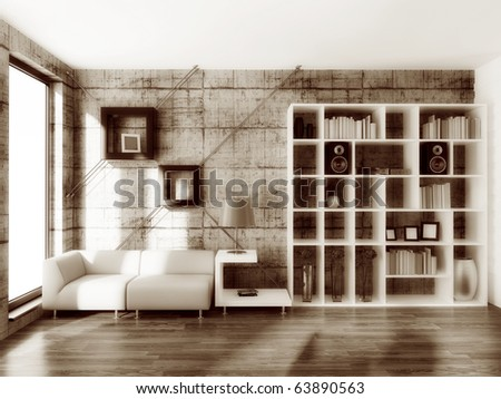 modern interior room with concrete wall - stock photo