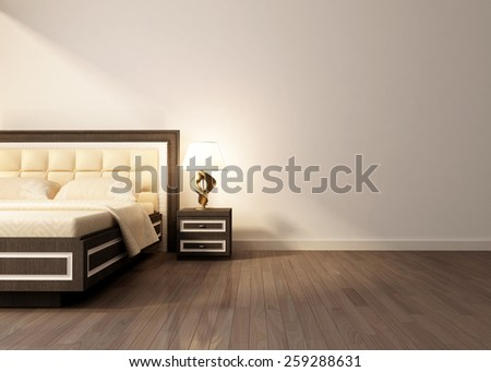 Modern interior room with king size bad.  3D rendering - stock photo