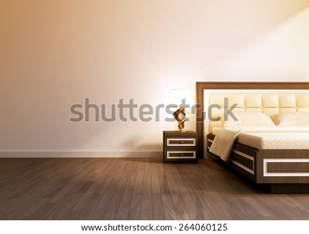 Modern interior room with king size bed. 3D rendering - stock photo