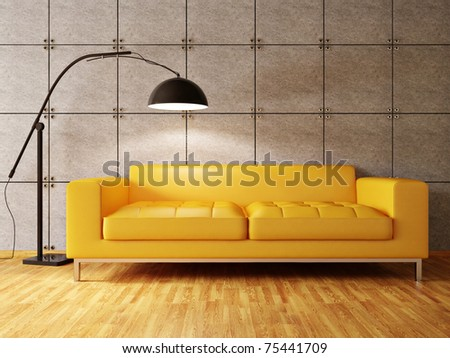 modern interior room with nice furniture inside - stock photo