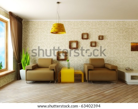 modern interior room with pattern on the wall and brown armchair - stock photo