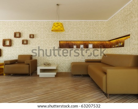 modern interior room with pattern on the wall and yellow furniture - stock photo