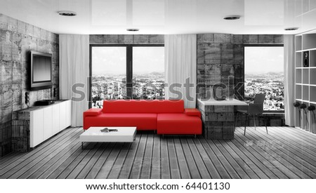 modern interior room with red sofa - stock photo