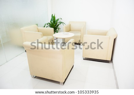 modern interior :simple small reception room - stock photo