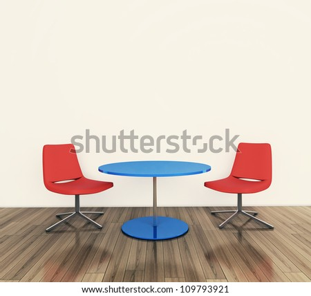 modern interior table and chairs. 3d image. - stock photo