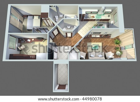 modern interior  top view - stock photo