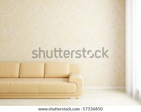 Modern interior wall and sofa near window - stock photo