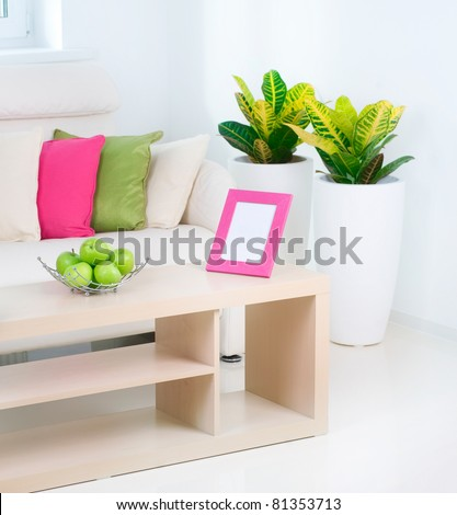Modern Interior.White Living Room - stock photo