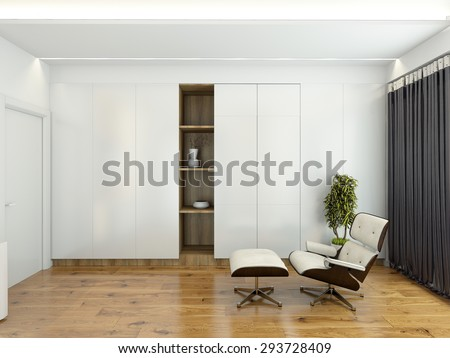 Modern interior with a chair and a wardrobe 3D rendering - stock photo