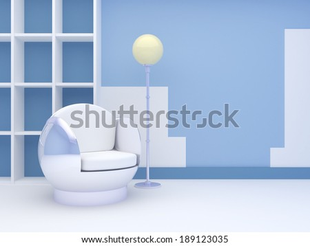 Modern interior with a round chair and a floor lamp, standing at the blue wall - stock photo