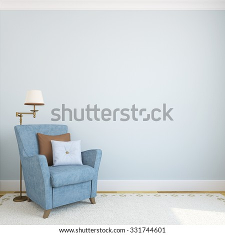 Modern interior with armchair.3d render. - stock photo