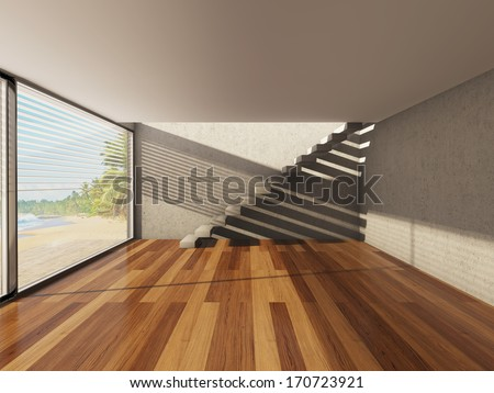 Modern interior with big window and view of sea - stock photo