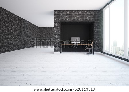 Modern interior with black brick walls, light wooden floor, workplace and city view. 3D Rendering