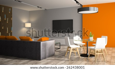 Modern interior with black sofa and orange wall 3D rendering  - stock photo