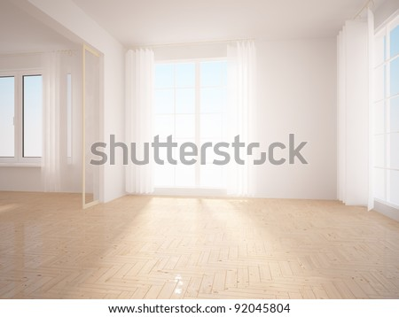modern interior with blinds on windows - stock photo