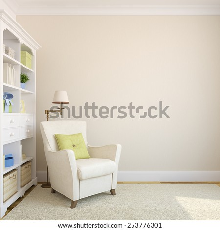 Modern interior with bookcase and armchair near beige empty wall.3d render. - stock photo