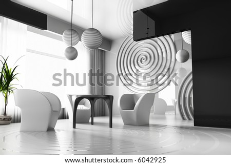 Modern interior with concentric circles on a floor - stock photo