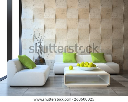 modern interior with concrete wall panels 3D rendering - stock photo