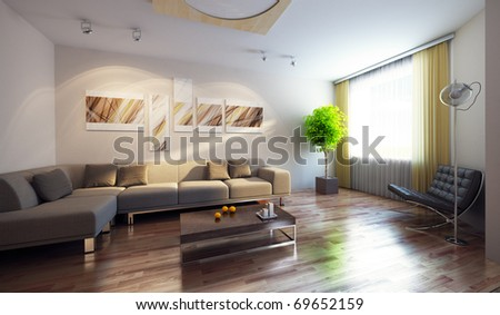 modern interior with couch and picture on the wall, 3d render - stock photo