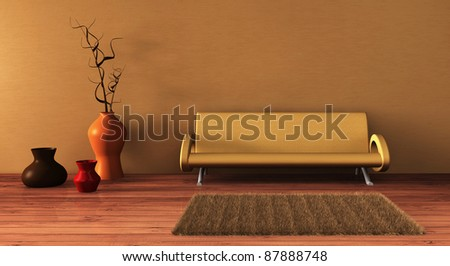 modern interior with couch and vases. - stock photo