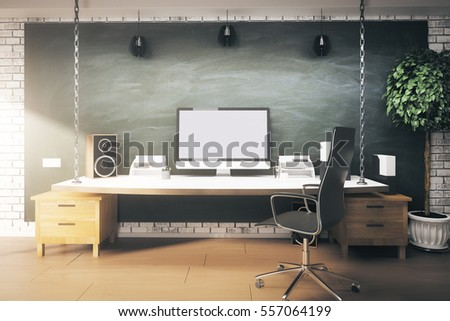 Modern interior with creative designer desktop and blank white computer screen. Mock up, 3D Rendering