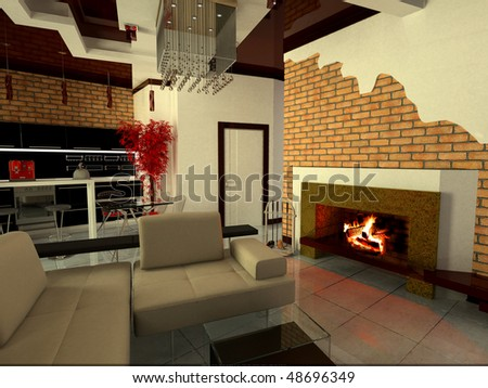 modern interior with fireplace - stock photo