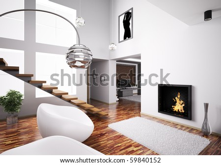 Modern interior with fireplace and staircase 3d render - stock photo