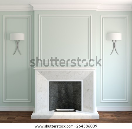 Modern interior with fireplace. 3d render. - stock photo