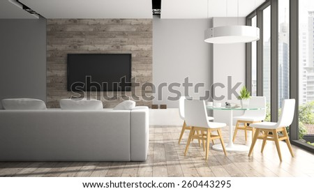 Modern interior with four white chairs 3D rendering  - stock photo