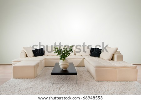 Modern interior with free wall space - stock photo