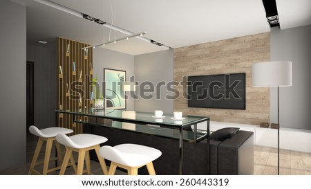 Modern interior with glass bar table 3D rendering