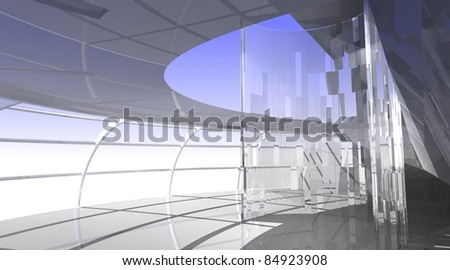 Modern interior with glass. 3d illustration - stock photo