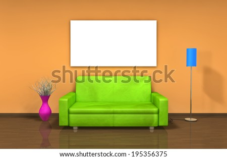 Modern interior with green sofa in living room  - stock photo