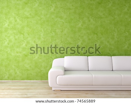 Modern interior with green wall and white leather sofa - stock photo