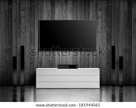 Modern interior with home cinema system - stock photo