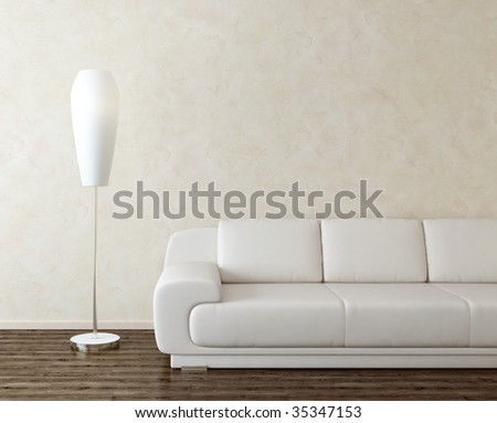 modern interior with lamp - more variations of this picture in portfolio - stock photo