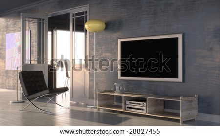 Modern interior with plasma screen and design chairs (3D render)