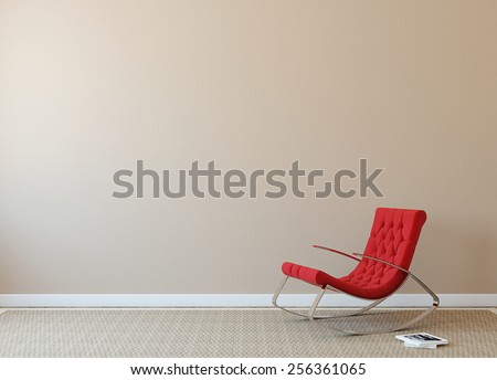 Modern interior with red armchair near beige wall. Photo on book cover was made by me. - stock photo
