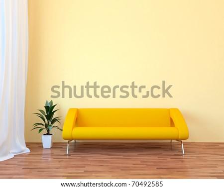 Modern interior with sofa - stock photo