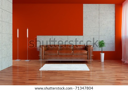 Modern interior with sofa - stock photo