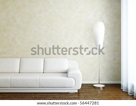 Modern interior with sofa and lamp in front of window - stock photo