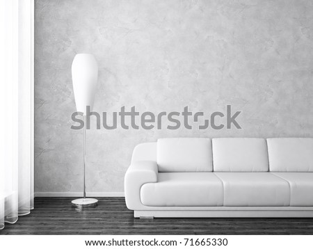 Modern Interior with Sofa and Lamp near  Window in Black and White - stock photo