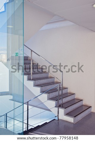 modern interior with stair - stock photo