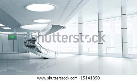 modern interior with stairs - stock photo